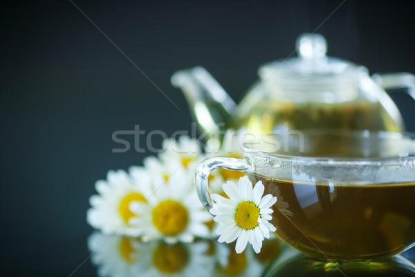 Сток-фото: ромашка · чай · стекла · чайник · черный · здоровья