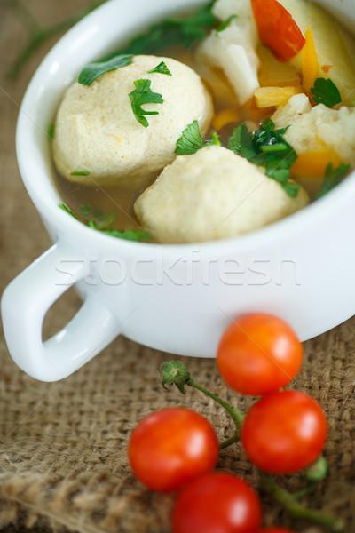 Stock fotó: Zöldségleves · húsgombócok · asztal · zöld · tyúk · labda