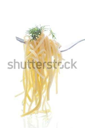 Gekookt spaghetti vork witte water achtergrond Stockfoto © Peredniankina