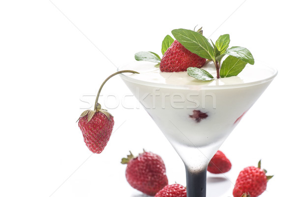 milk with strawberry jelly  Stock photo © Peredniankina