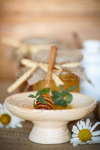 Mel vitamina fresco vidro jarra mesa de madeira Foto stock © Peredniankina
