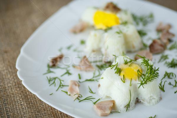 Eieren gestoomd ei spek kruiden achtergrond Stockfoto © Peredniankina