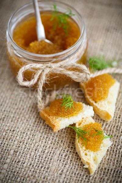 Kenyér sózott kaviár asztal étel hal Stock fotó © Peredniankina