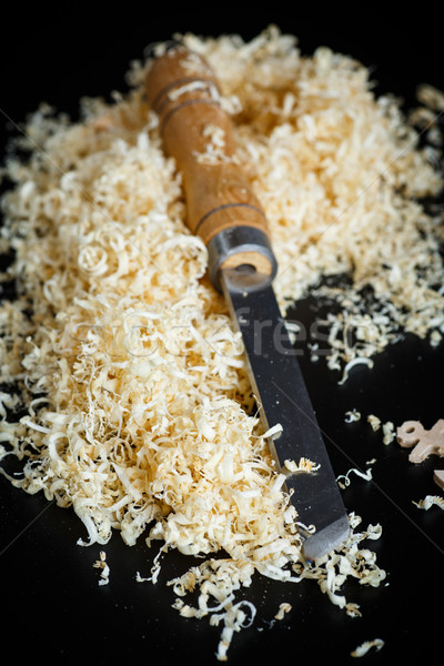 Woodworking tools. Chisel with sawdust . Stock photo © Peredniankina