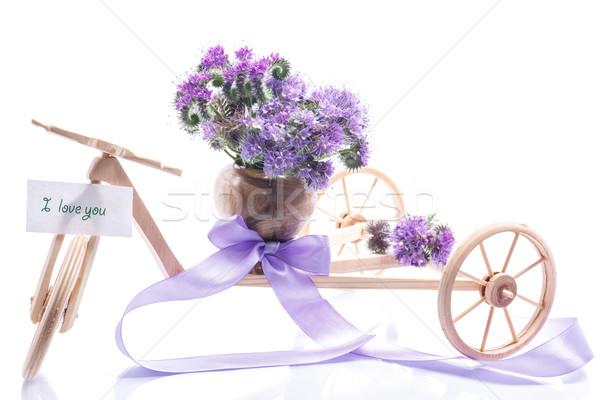 Stockfoto: Boeket · bloemen · Blauw · witte · bruiloft · natuur