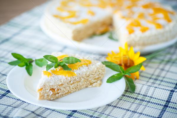 Stockfoto: Wafel · cake · perziken · room · ingericht · mint