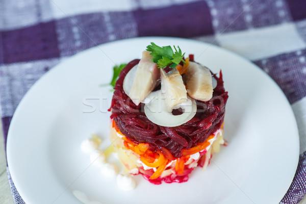 Russian traditional herring salad Stock photo © Peredniankina