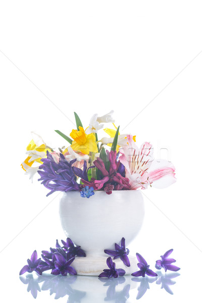 Belo buquê flores da primavera branco primavera jardim Foto stock © Peredniankina