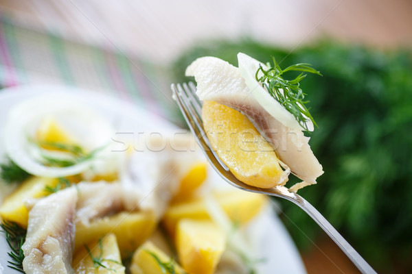 salted herring with boiled potatoes  Stock photo © Peredniankina
