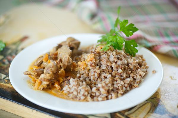 приготовленный куриные обеда пластина завтрак овощей Сток-фото © Peredniankina