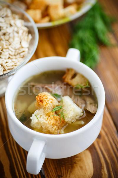 Zab leves tál asztal háttér zöld Stock fotó © Peredniankina
