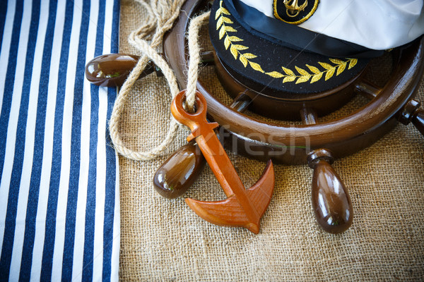 Decorative wooden ship anchored at the helm Stock photo © Peredniankina