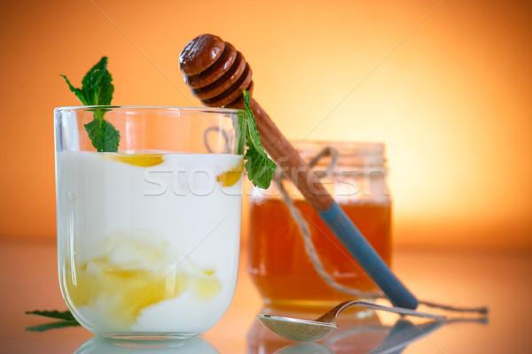 Stockfoto: Grieks · yoghurt · honing · glas · voedsel · achtergrond