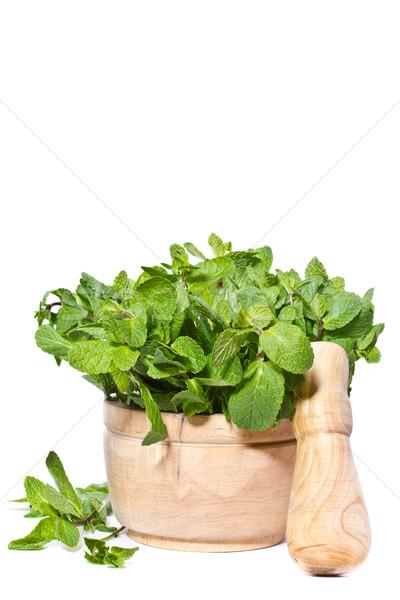 新鮮な ミント 木製 食品 背景 茶 ストックフォト © Peredniankina