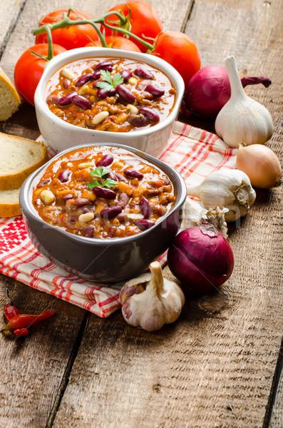 Homemade chilli con carne, bio bread Stock photo © Peteer