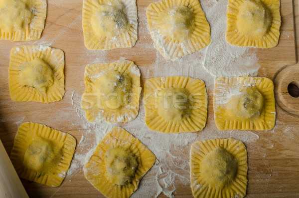 Homemade ravioli stuffed with spinach and ricotta Stock photo © Peteer