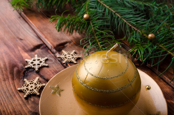 Christmas ornament pine naalden houten tafel hout Stockfoto © Peteer