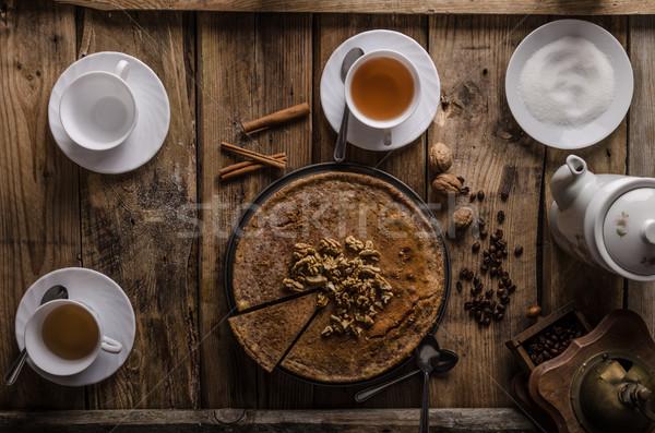 Walnut cheesecake with cinnamon Stock photo © Peteer