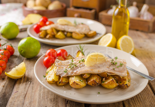Rainbow trout fillet with roasted potatoes Stock photo © Peteer
