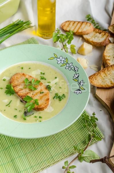 Zdjęcia stock: Kremowy · por · zupa · toast · panini