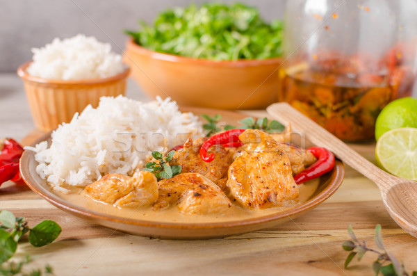 Lezzetli tavuk köri beyaz pirinç basit tok Stok fotoğraf © Peteer
