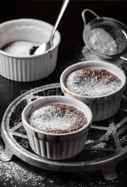 Chocolate delicioso simple foto negro mesa Foto stock © Peteer
