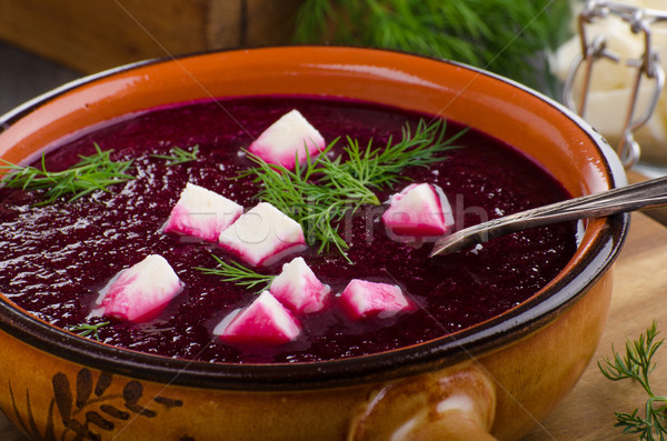 Beet soup with cheese and herbs Stock photo © Peteer