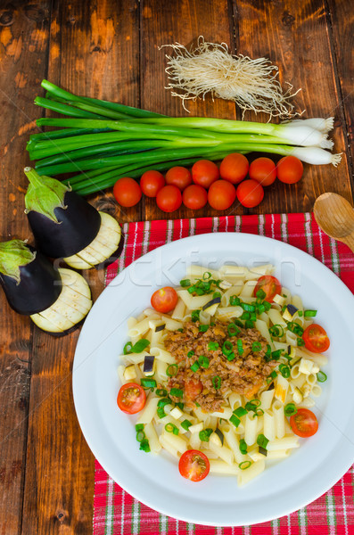 Pasta with bolognese sauce and eggplant Stock photo © Peteer