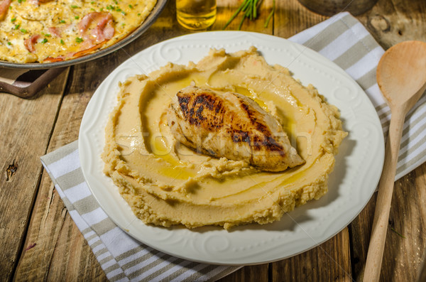 Hummus from lenses with chicken steak Stock photo © Peteer