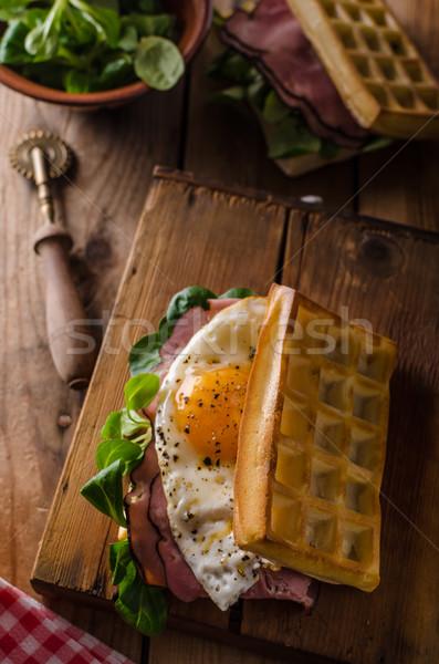 サンドイッチ 卵 レタス 古い スタイル チョコレート ストックフォト © Peteer