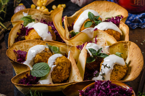 Falafel with herbs and cabbage Stock photo © Peteer