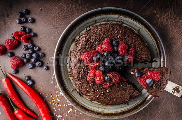 Brownies cake with chilli and berries Stock photo © Peteer
