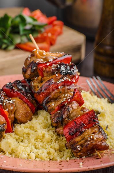 Tyúk mártás egészséges étel kuszkusz étel háttér Stock fotó © Peteer