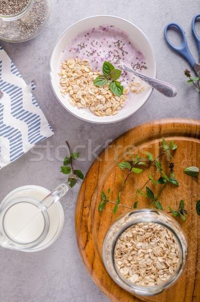 Sağlıklı kahvaltı yoğurt gıda sağlık yaz Stok fotoğraf © Peteer