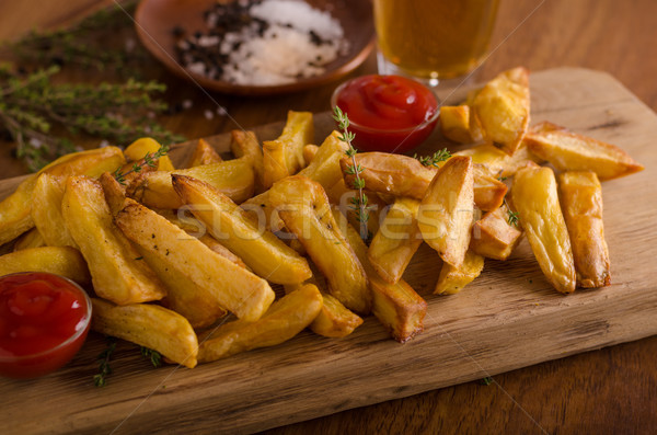Ev yapımı patates kızartması organik ketçap gıda fotoğrafçılık Stok fotoğraf © Peteer
