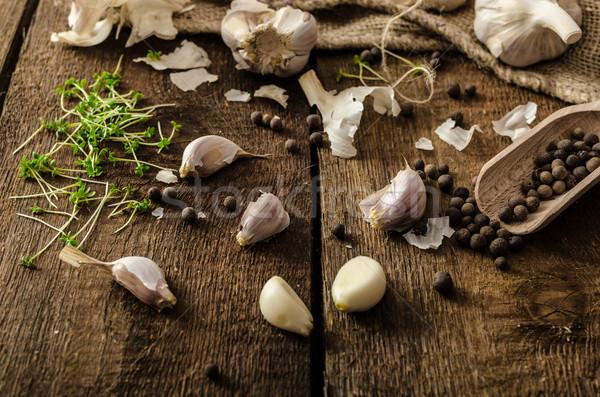 Doméstico bio alho tcheco temperos fresco Foto stock © Peteer