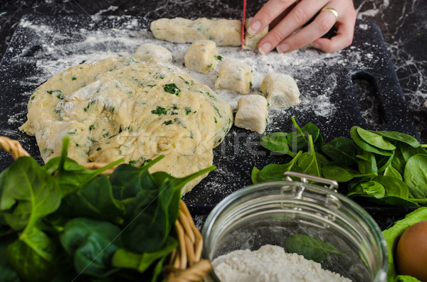 Making of homemade spinach gnocchi Stock photo © Peteer