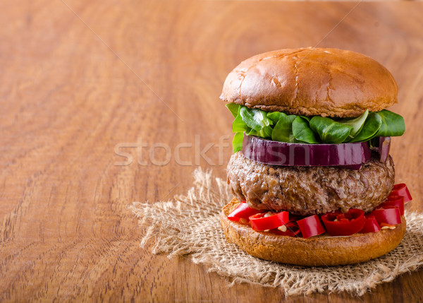 Beef burger with chilli Stock photo © Peteer