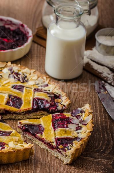 Taart kersen mooie grid achtergrond cake Stockfoto © Peteer