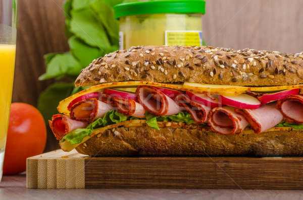 Wholemeal baguette with smoked rump Stock photo © Peteer