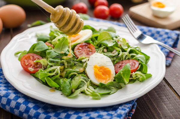 Lambs lettuce salad, hard-boiled eggs Stock photo © Peteer