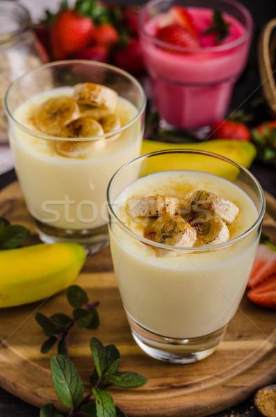 バナナ 写真 単純な デザート 食品 背景 ストックフォト © Peteer