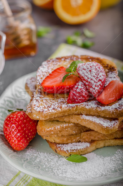 Stock photo: French toast with strawberries