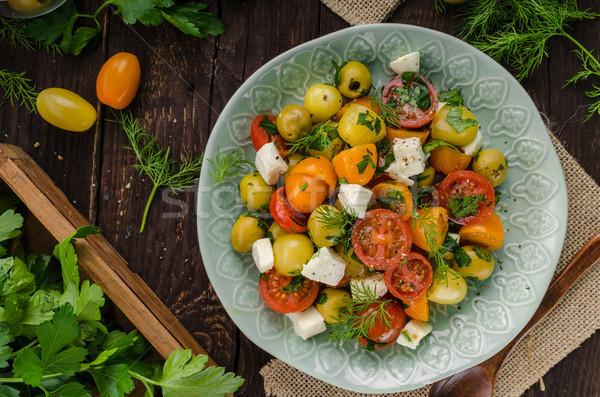 Fresh tomato olives salad feta cheese Stock photo © Peteer