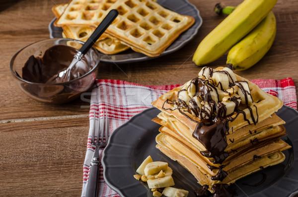 Banán diók csokoládé eredeti gyümölcs tányér Stock fotó © Peteer