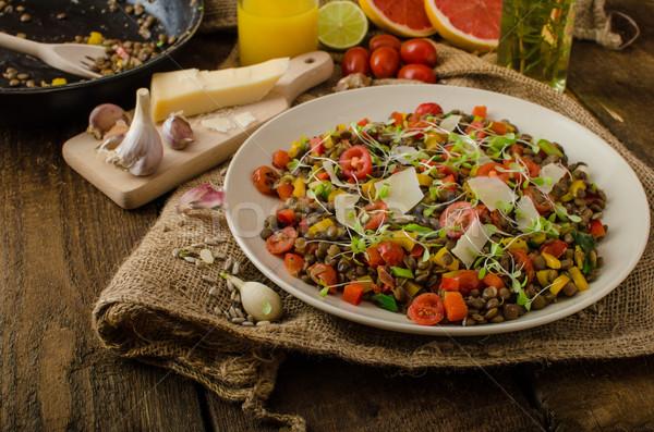 Meleg saláta lencse bio egészséges egészséges étrend Stock fotó © Peteer