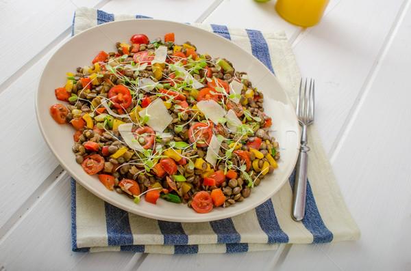Sıcak salata biyo sağlıklı sağlıklı beslenme Stok fotoğraf © Peteer