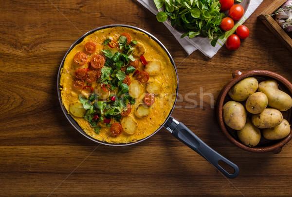 Stockfoto: Tomaten · kruiden · chili · weinig · sla · binnenkant
