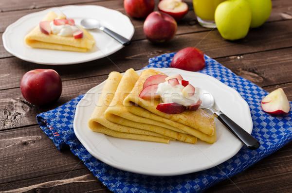 Creme panquecas frutas frescas sem glúten comida fruto Foto stock © Peteer