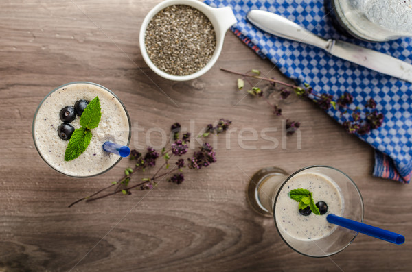 черника молочный коктейль апельсиновый сок нижний стекла продовольствие Сток-фото © Peteer